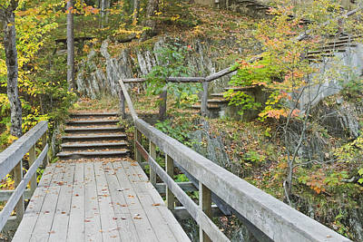 Photograph - Autumn Steps Near Smalls Falls In Maine by Keith Webber Jr