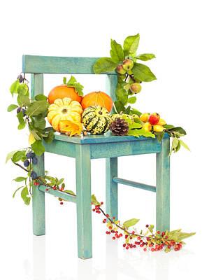 Autumn Still Life Chair Art Print