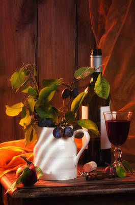 Vase Table Photograph - Autumn Still Life by Amanda Elwell