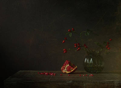 Red Rose Wall Art - Photograph - Autumn Still Life by Galina Bunkova