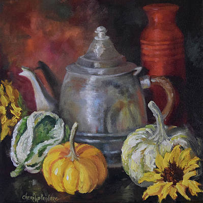 Pumpkins Painting - Autumn Still Life V by Cheri Wollenberg
