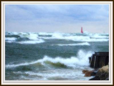 Lake Michigan Drawing - Autumn Storm At Muskegon Pier Waves Tumbling And Crashing In by Rosemarie E Seppala