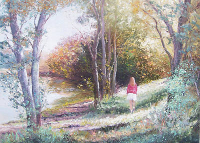 Girl In Landscape Painting - Autumn Strolling  by Jan Matson