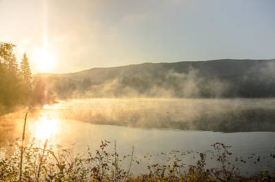 Photograph - Autumn Sun Mist Fairy Lake by Roxy Hurtubise