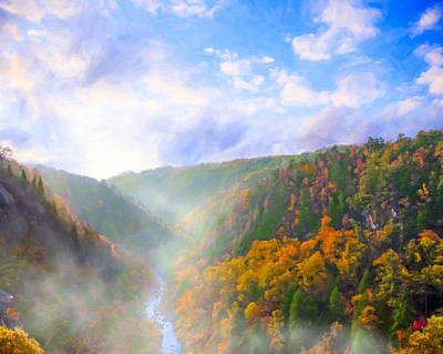 Autumn Sunrise In Tallulah Gorge Art Print by Mark E Tisdale
