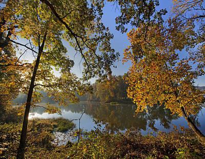 Arkansas Photograph - Autumn Sunrise On Lake Sequoyah Arkansas by Tim Fitzharris