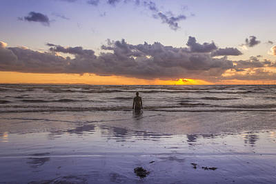 Autumn Sunset At Crosby Beach Art Print