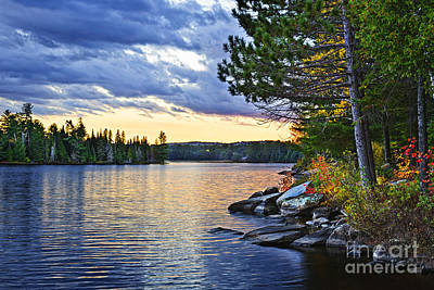 Wild Horse Paintings - Autumn sunset at lake by Elena Elisseeva