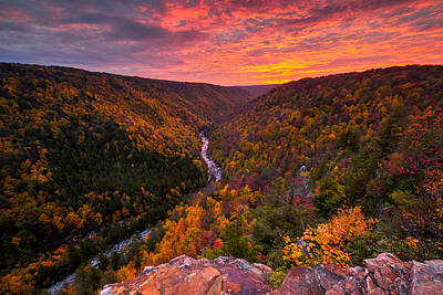 Blackwater Canyon Photograph - Autumn Sunset From Pendleton Point by Joseph Rossbach