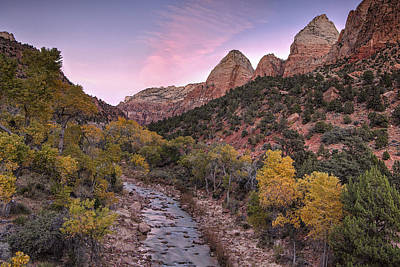 Zion National Park Photograph - Autumn Sunset In Zion by Andrew Soundarajan