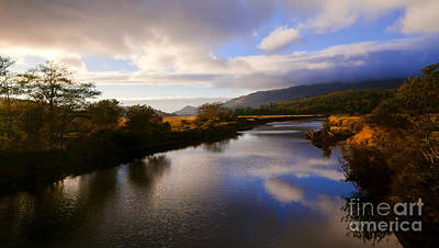 Photograph - Autumn Sunset Serene Salmon River Oregon Blue Clouds Reflection  by Jerry Cowart