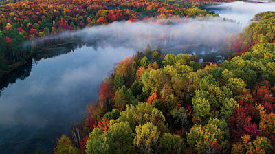 Aerial Photograph - Autumn Symphony II by John Fan