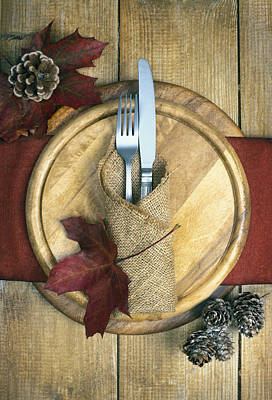 Table Setting Photograph - Autumn Table Setting by Amanda Elwell