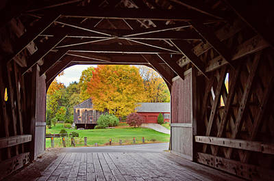 Countryside Photograph - Autumn Through The Cresson Covered Bridge by Donna Doherty