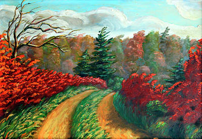 Northern Ontario Painting - Autumn Trail by Hanne Lore Koehler