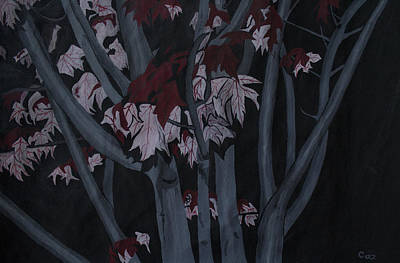 Painting - Autumn Tree At Night by Carol De Bruyn