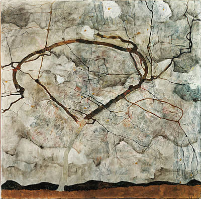 Autumn Tree In Stirred Air. Winter Tree Print by Egon Schiele