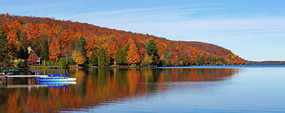 Colors Of Quebec Photograph - Autumn Trees At Lakeshore, Lake Bowker by Panoramic Images