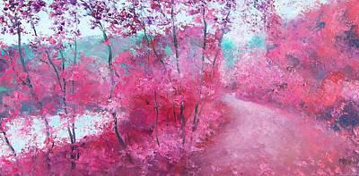 Winding Road Painting - Autumn Trees By Jan Matson by Jan Matson