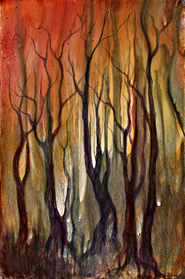 Alcohol Ink Painting - Autumn Trees by Ellen Starr