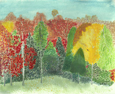 Painting - Autumn Trees In Bright Fall Colors by Conni Schaftenaar