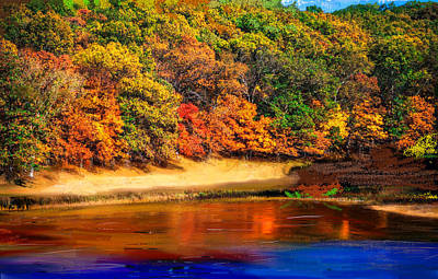 Vibrancy Painting - Autumn Vibrancy Over The Lake by Angela A Stanton