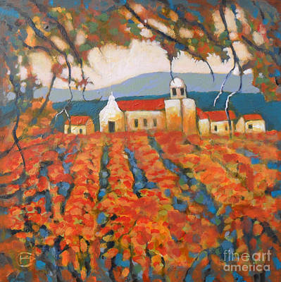 Napa Valley Vineyard Painting - Autumn Vineyard by Kip Decker