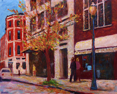 Autumn Walk Downtown Art Print by Vernon Reinike