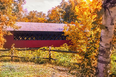 Photograph - Autumn Walk To The Covered Bridge by Jeff Folger