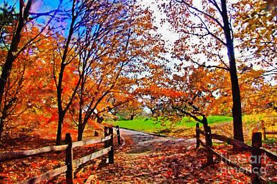 Walkway Digital Art - Autumn Walkway by Nishanth Gopinathan