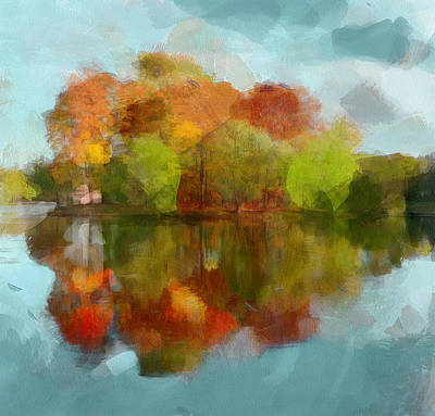 Digital Art - Autumn Water Reflection by Yury Malkov