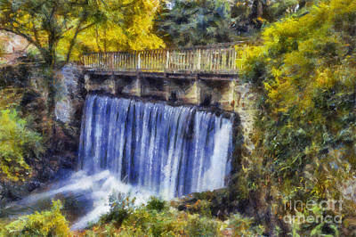 Popstar And Musician Paintings Royalty Free Images - Autumn Waterfall Bridge Royalty-Free Image by Ian Mitchell