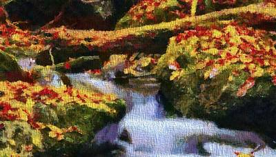 The Trees Mixed Media - Autumn Waterfall Canvas by Dan Sproul