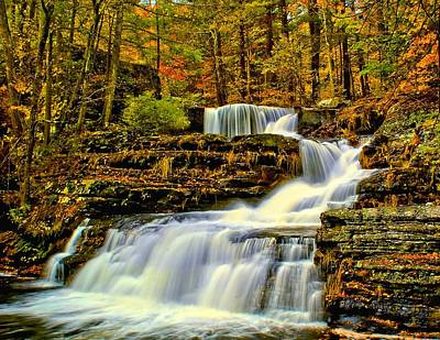 Autumn By The Waterfall Art Print by Nick Zelinsky