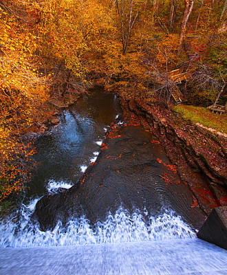 Photograph - Autumn Waterfalls At Evins Old Mill Spillway Photograph by Jerry Cowart