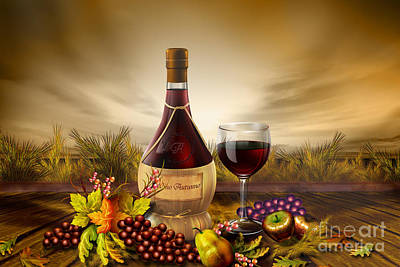 Vino Mixed Media - Autumn Wine by Bedros Awak