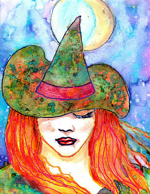 Painting - Autumn Witch by Janice T Keller-Kimball