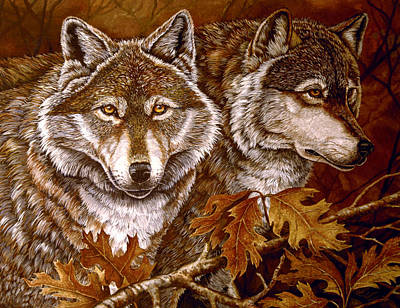 Autumn Wolves Art Print by Sandy Williams