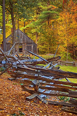 Autumn Wooden Fence Art Print