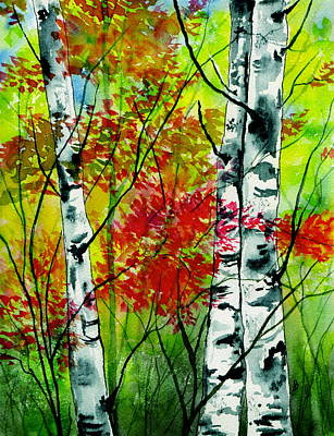 Woodscape Painting - Autumn Woodland by Brenda Owen