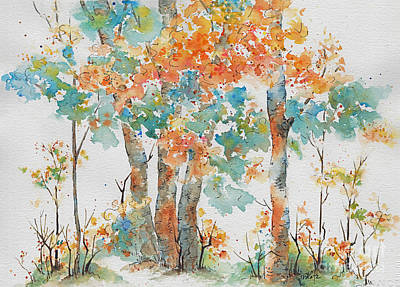 Painting - Autumn Woods Deep Woods by Pat Katz
