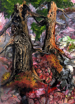 Art Print featuring the painting Autumn Woods by Sherry Shipley