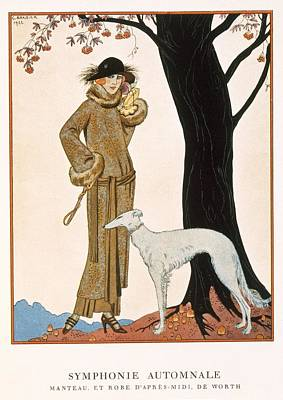 Greyhound Painting - Autumnal Symphony Afternoon Coat And Dress By Worth by Georges Barbier