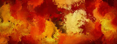 Red Abstract Digital Art - Autumn's Abstract Beauty by Lourry Legarde