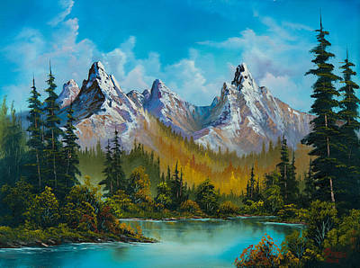 Sawtooth Mountain Art Painting - Autumn's Magnificence by C Steele