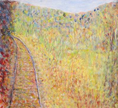 Autumns Maple Leaves And Train Tracks Art Print