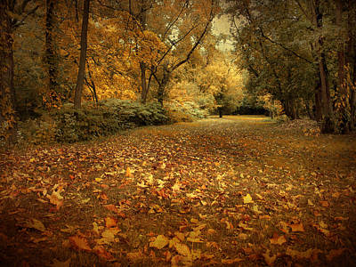 Golden Digital Art - Autumn's Passage by Jessica Jenney