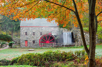 Auutmn At The Grist Mill Art Print by Michael Blanchette