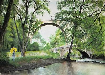 Painting - Aux Pieds Des Ponts De Pierre - Perthuis by Marc Philippe Joly
