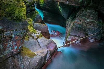 Photograph - Avalanche Gorge Glacier National Park Painted   by Rich Franco